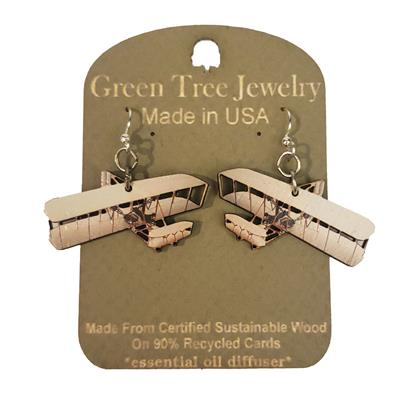 1905 Wright Flyer III Wooden Earrings,1588