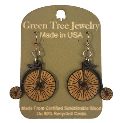 High Wheel Bicycle Wooden Earrings,1264