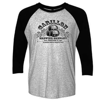 Carillon Brewing Company 3/4 Sleeve T Shirt Barrels & Hops,71003024692 S